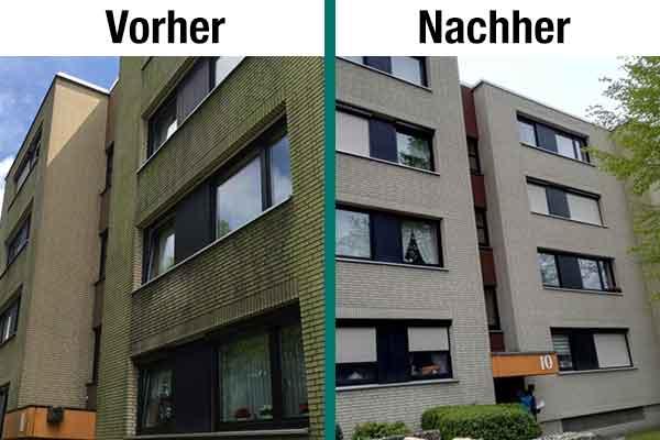 Die Fassade eines Wohnblockes in Hannover: Links mit Moos- und Algenbewuchs, Rechts erstrahlt der Klinker wieder in seiner ursprünglichen Farbe: weiß