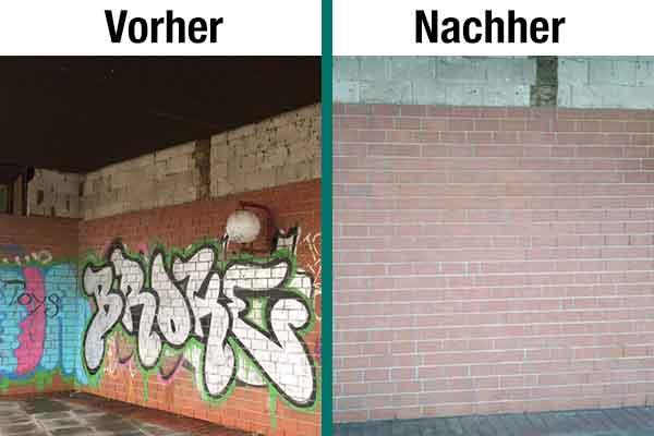 """Links eine mit hässlichem Graffiti besprühte Klinkerwand, rechts die gleiche Wand, nachdem unser """"Getifix-Graffiti-Entfernungstrupp"""" das Graffiti entfernt hat. Was für ein tolles Ergebnis."""
