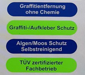 Worin wir stark sind: Graffitientfernung ohne Chemie, Graffiti-/Aufkleber Schutz, Algen/Moos Schutz Selbstreinigend, TÜV zertifizierter Fachbetrieb